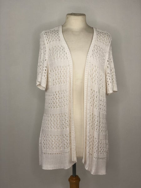 XL Kim Rogers White Crochet Cardigan
