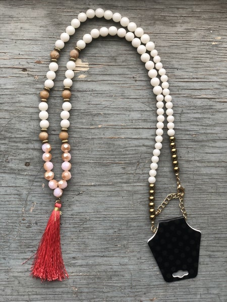 White Pink and Brown Beaded Necklace with Pink Tassel