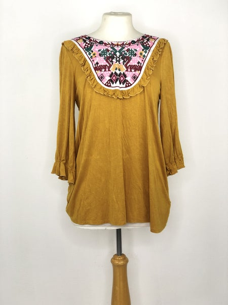 L Hailey & Co. Mustard Yellow w/ Embroidery