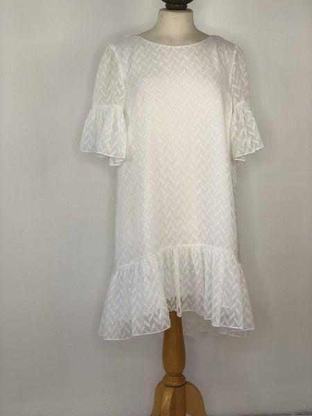12 Cece by Cynthia Steffe White Ruffle Dress Retail $180