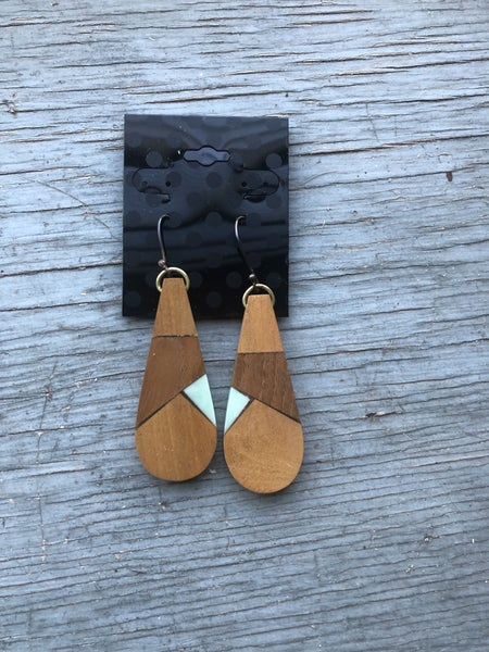 Wood Dangle Earrings with Turquoise Accent