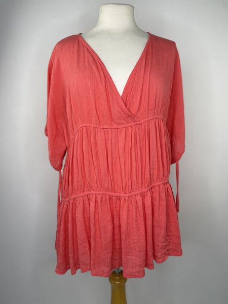 S Easel Pink Tiered Blouse