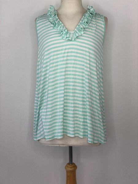 XL Crown & Ivy Mint/White Stripe Tank