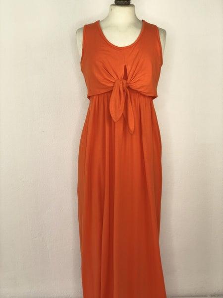 M Boston Proper Orange Tie Maxi Dress