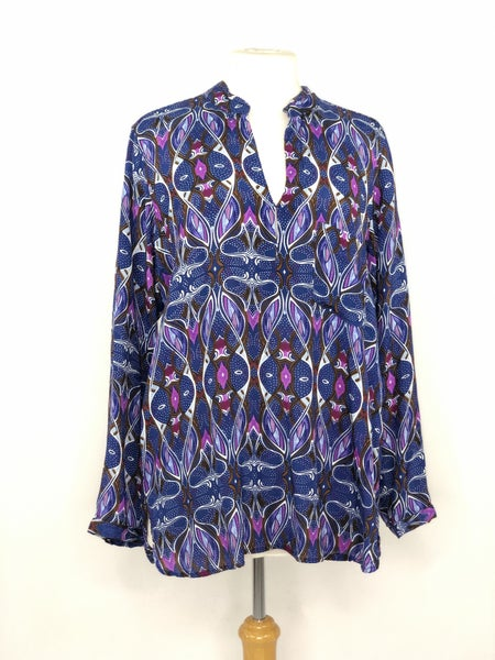 XL Vivante Blue/Purple/Brown Swirl Print Tunic