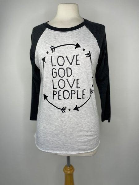 "S ""Love God Love People"" Baseball Tee"