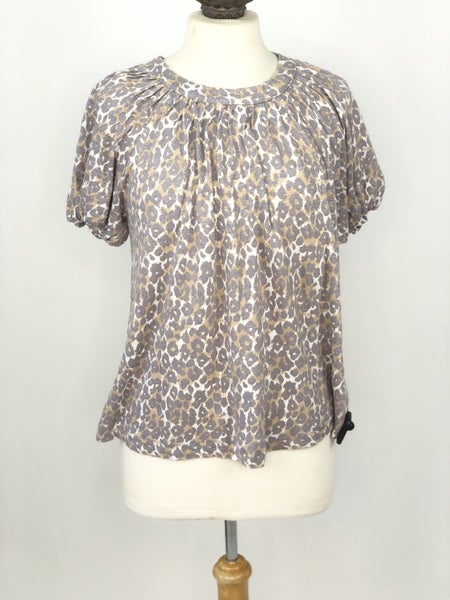 S Maeve by Anthropologie Animal Print Bubble Sleeve Top