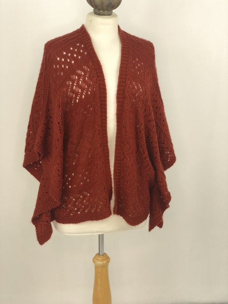 M Kim Burn Orange Knit Cardigan