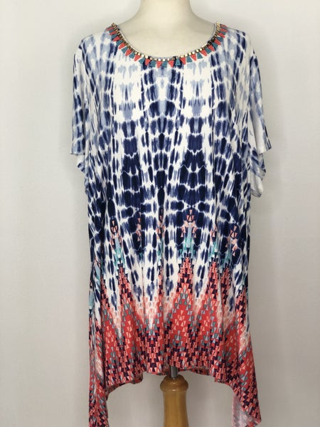 3X Ruby Rd. Blue/White/Coral Tie Dye Top w/ Embellished Neck
