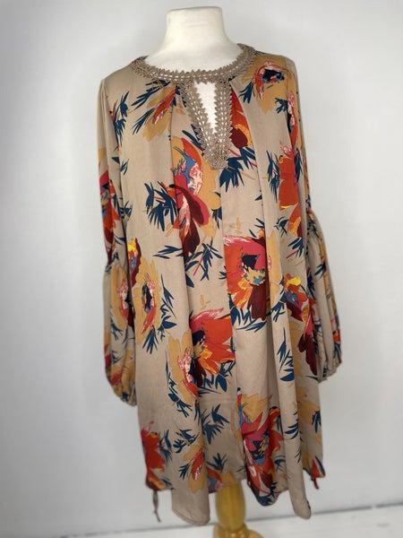 M Umgee Cocoa &  Orange Floral Tunic/Dress