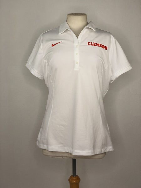 XL Clemson Nike Dri-Fit White Polo
