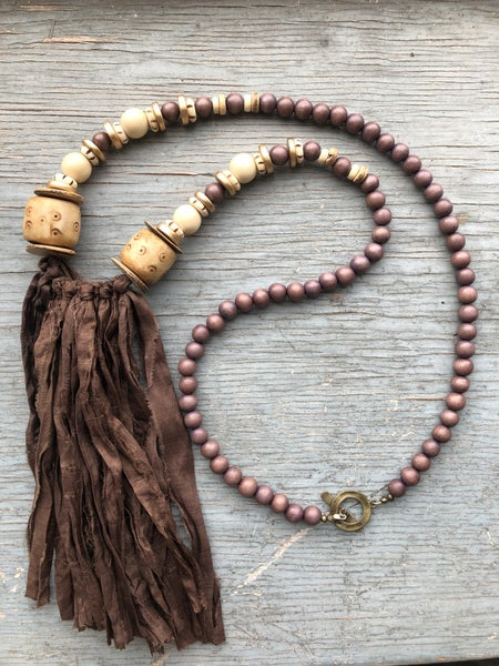 Brown Wood Bead & NEutral Chunky Necklace w/ Brown Tassel
