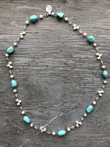 Pearl Clear & Turquoise Stone Necklace