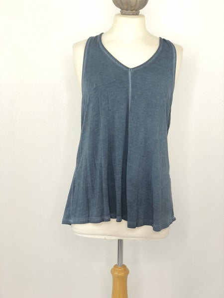 XL White Crow Teal Acid Wash Sleeveless Top