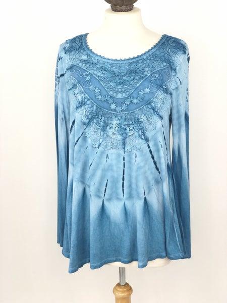 M Melissa Paige Blue Tie Dye Tunic Top