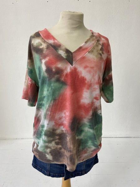 Red and Green Tie-Dye Top