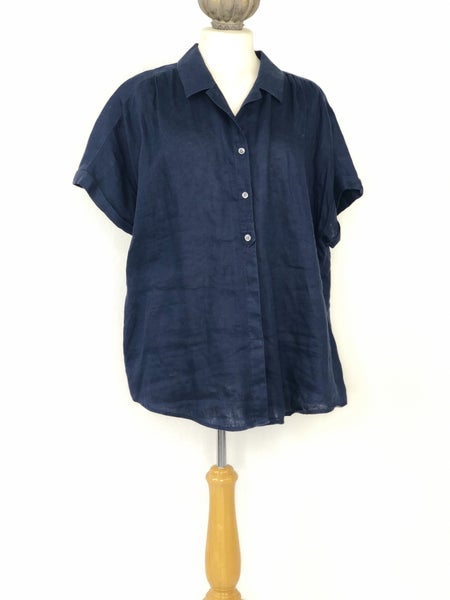 XL J. Jill Navy 100% Linen Short Sleeve Button Down