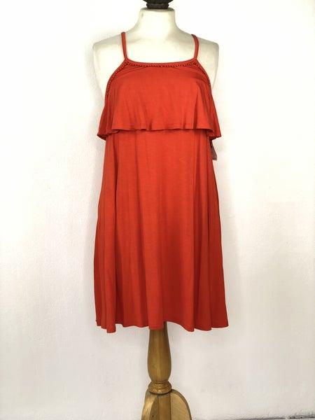 S Old Navy Orange Dress w/ Ruffle