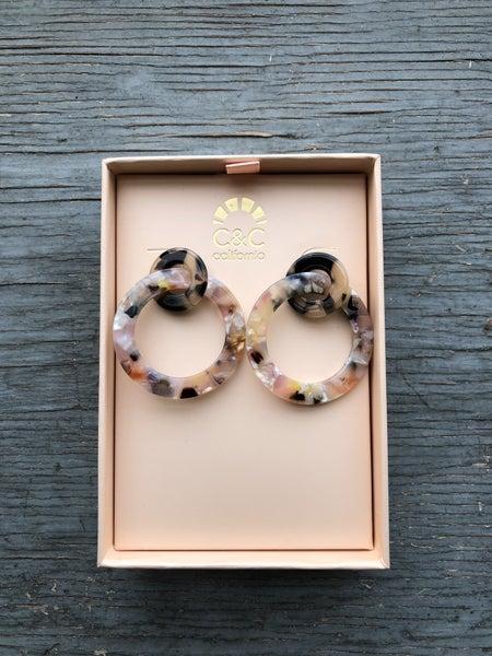 C&C California Faux Tortoise Double Ring Earrings