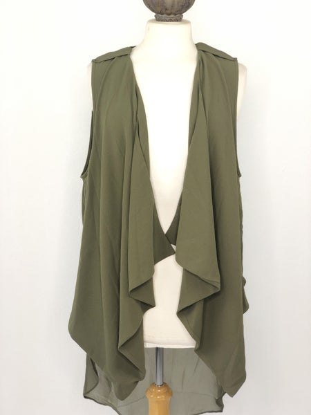 XL Society Girl Olive Green Drape Vest