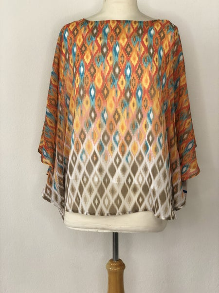 XL Ruby Rd. Orange w/ Blue Print Blouse
