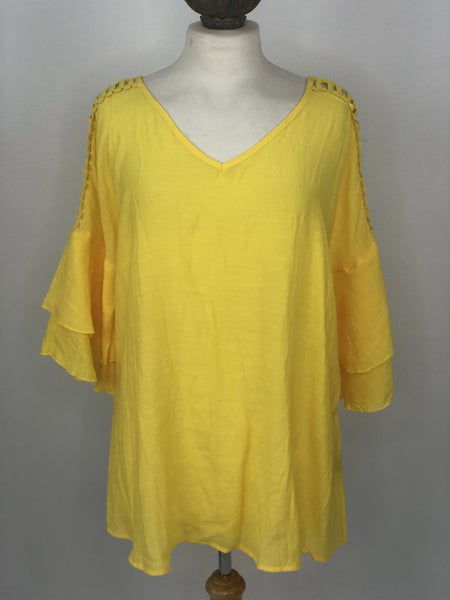 L Canary Yellow Ruffle Trim Tunic
