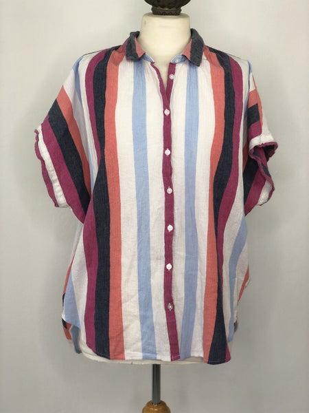 L Time And Tru White/Magenta/Blue Vertical Stripe Gauze Top