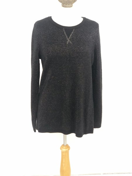 L New Directions Black/Silver Knit Sweater