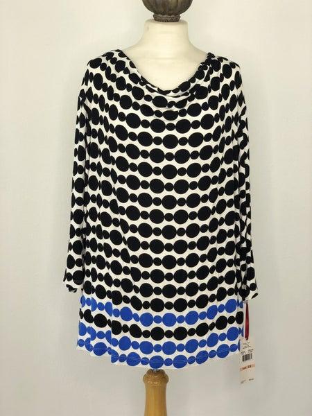 2X Ruby Rd Black/White Circle Print Top NWT Ret $54