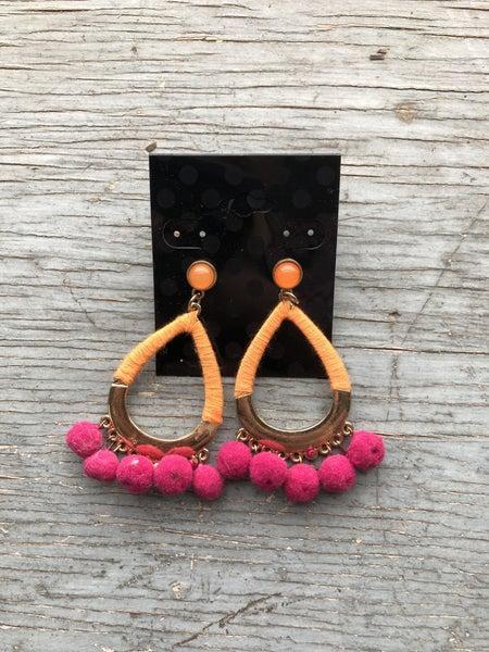 Orange/Pink Pom Pom Tear Drop Earring