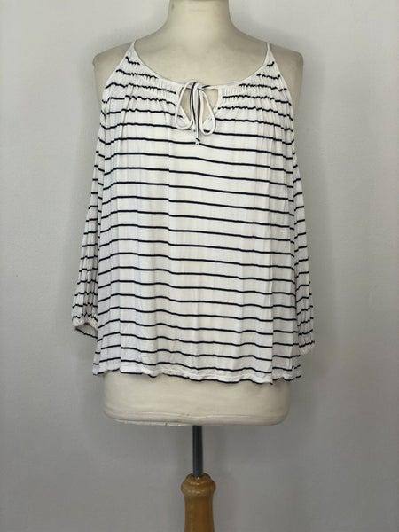 M Sophie Max White/Navy Stripe Cold Shoulder Top