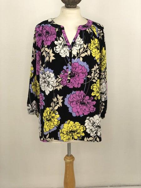 L Dana Buchman Black Floral Blouse
