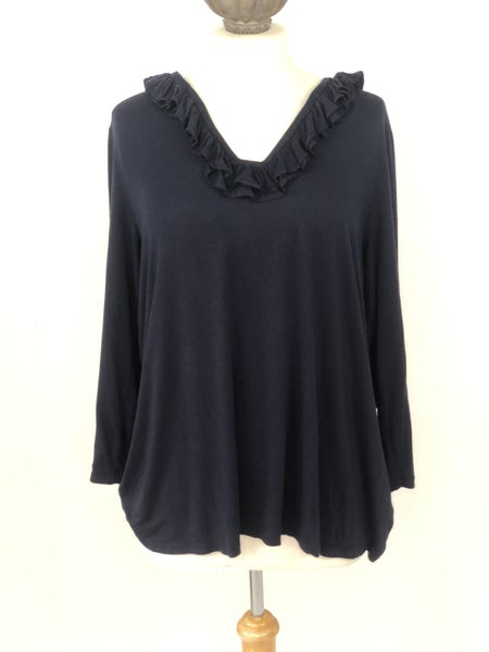 XL Crown & Ivy Navy Ruffle Neck Top