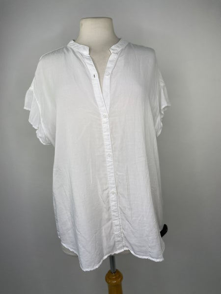 L Cloth & Stone by Anthropologie White Ruffle Sleeve Top