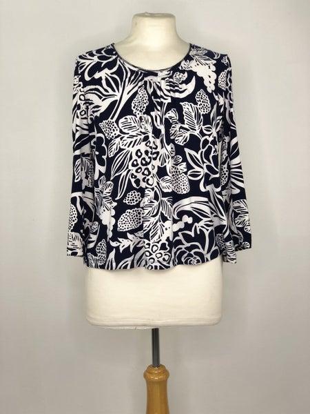Mp Rafaella Blue/White Floral Print Top