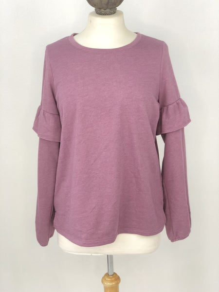 M Old Navy Heather Lavender Ruffle Sweatshirt