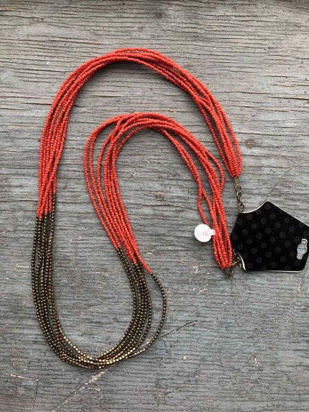 Orange and Bronze Beaded Multistrand Necklace