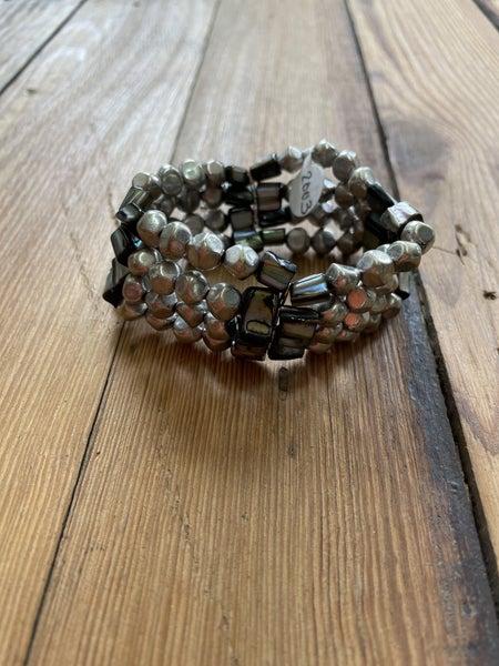 Silver Tone Stretch Bracelet