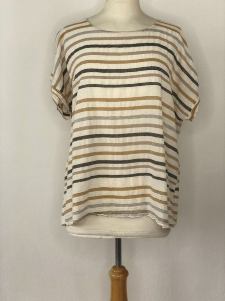 XL Miss Think White/Taupe/Mustard Stripe Top
