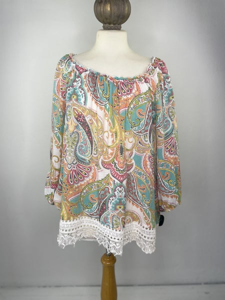XL Spense Paisley & Lace Top