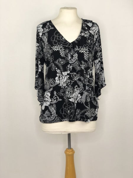 XL Susan Lawrence Black/White Floral Top