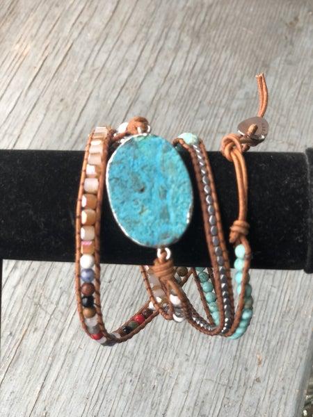 Iuniqueen Multicolor Wrap Bracelet with Turquoise Stone