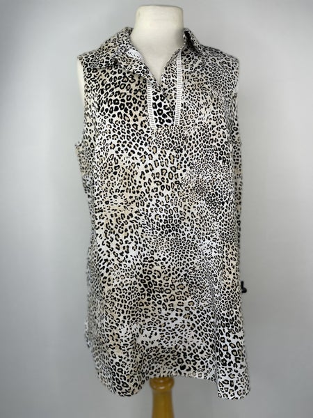 8 (Chico's Size 1) Chico's 100% Linen Leopard Print Top NWT Retail $99