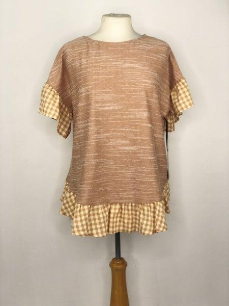 M Doe + Rae Vintage Oran Knit/ Gingham Sleeve Top NWT Ret $48