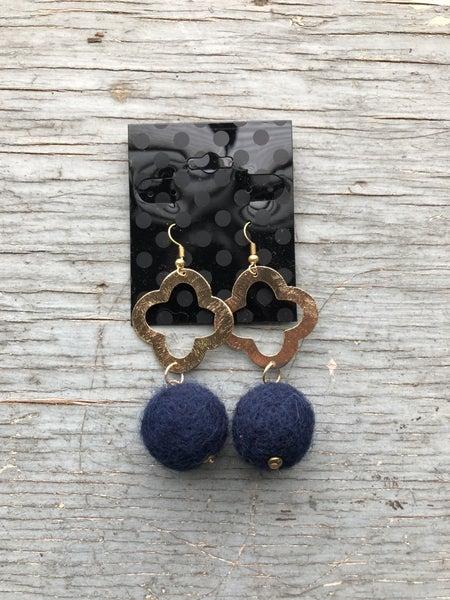 Navy Pom Pom & Gold Earring