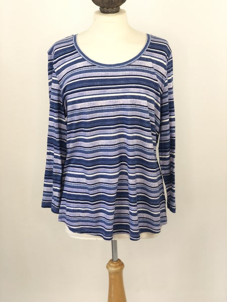 Sz. L New Directions Striped 3/4 Sleeve Tee