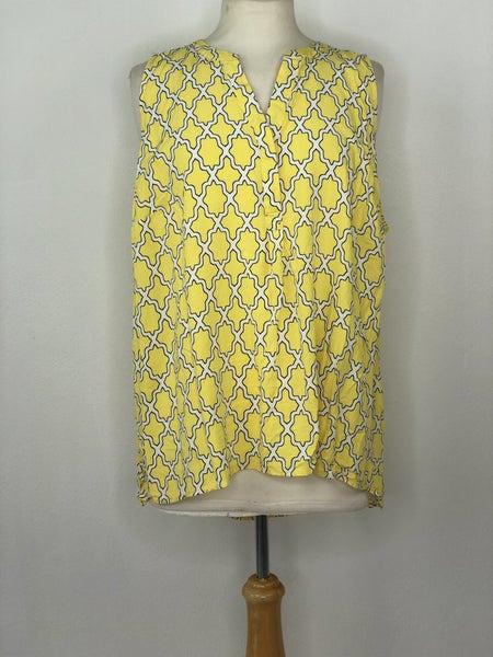 3X Crown & Ivy Yellow Geometric Sleeveless Blouse