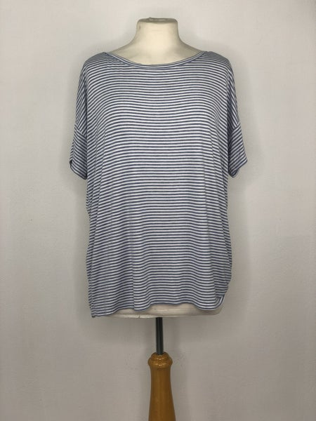 XL LOFT Light Blue/White Stripe Tee