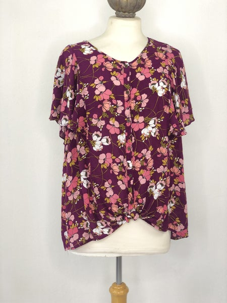 XXL ANA Plum/Pink/Yellow Floral Button Down Top