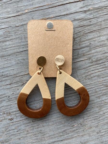 Two-tone Wood Earring